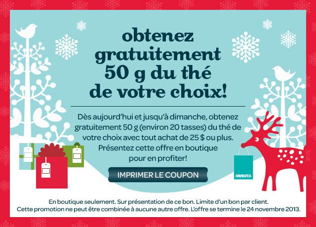 Coupon David's Tea Pour 50G De Thé Gratuit (Avec Achat)