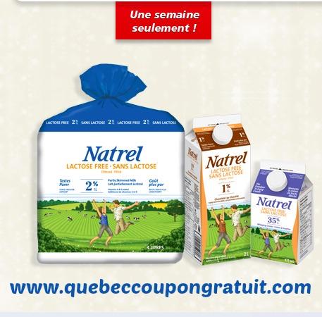 Coupon Rabais De 1$ Sur Le Lait Natrel Sans Lactose!