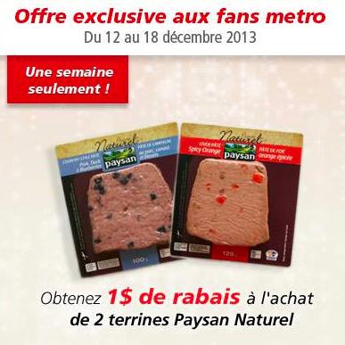 Coupon Rabais  De 1$ Sur Les Produits Paysan Naturel