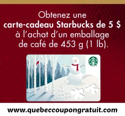 Carte-Cadeau Starbucks De 5$ Gratuite (Avec Achat De Café)