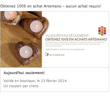 Recevez Un Coupon De 100$ Chez Artemano, «Aucun Achat Requis!»