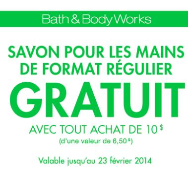 Coupon Pour Un Savon Gratuit Chez Bath & Body Works!!