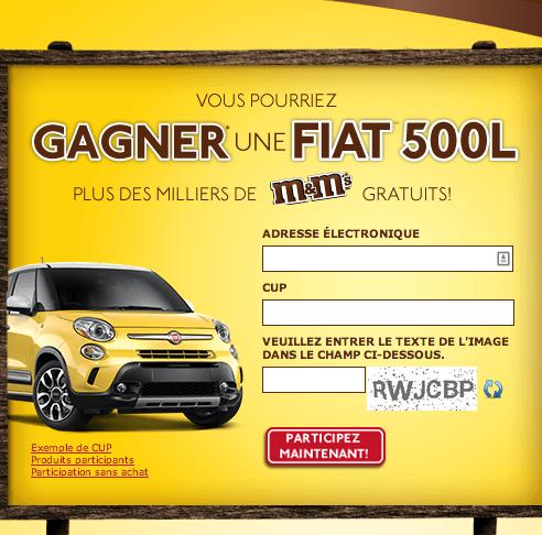 Concours M&m's : Gagnez Une Fiat 500L !