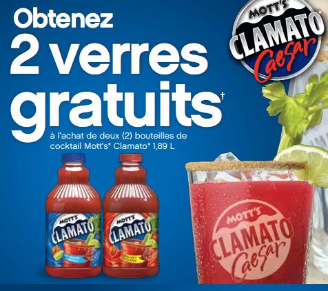 2 Verres Mott's Clamato Gratuits Avec Achat De 2 Bouteilles !