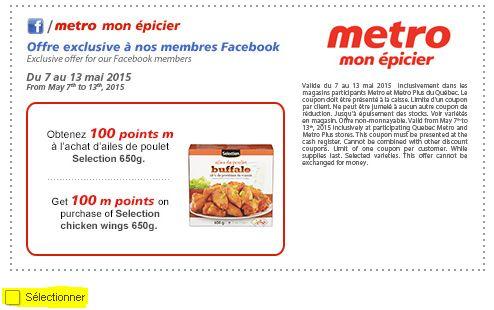 coupon rabais à imprimer Metro sur  les ailes de poulet Selection