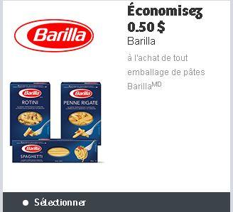 coupon rabais Barilla à imprimer sur Websaver pour économiser sur les pâtes Barilla