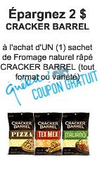 Coupon rabais Kraft Canada sur Fromage Naturel Râpé Cracker Barrel