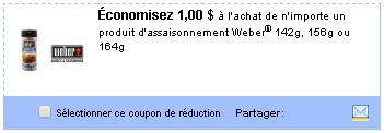 Coupon rabais Weber sur Utilisource.ca