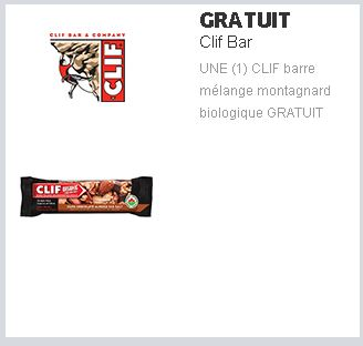 coupon rabais Barre CLIF gratuite