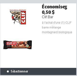coupon rabais Clif Bars