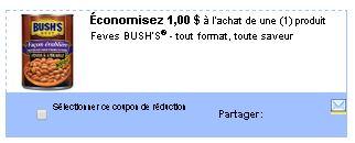 coupon rabais fèves Bush