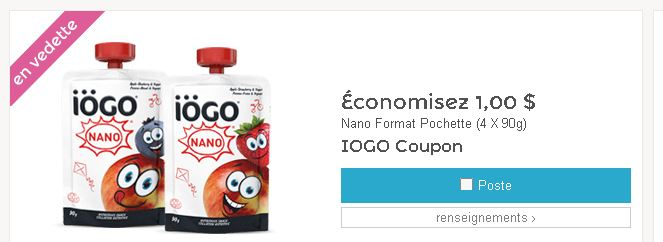 Coupon rabais IÖGO de 1$ sur les yogourts Nano IÖGO