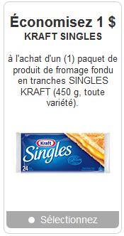 Coupon rabais Singles de Kraft Canada