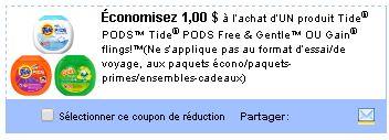 coupon rabais Tide POd ou Gain