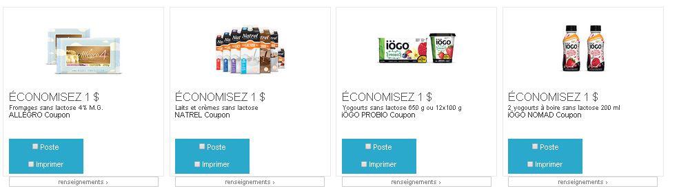 coupons rabais de produits sans lactose : IOGO, Natrel et Allegro