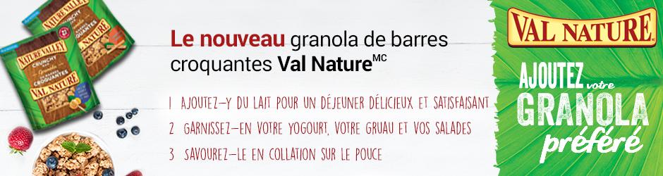 Coupon rabais Val Nature à imprimer / par la poste de 1$ sur granola de barres croquantes Val Nature