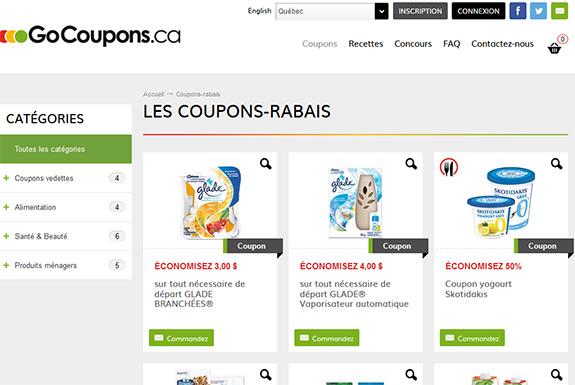 Site de coupons rabais à imprimer et coupons gratuits par la poste GoCoupons.CA