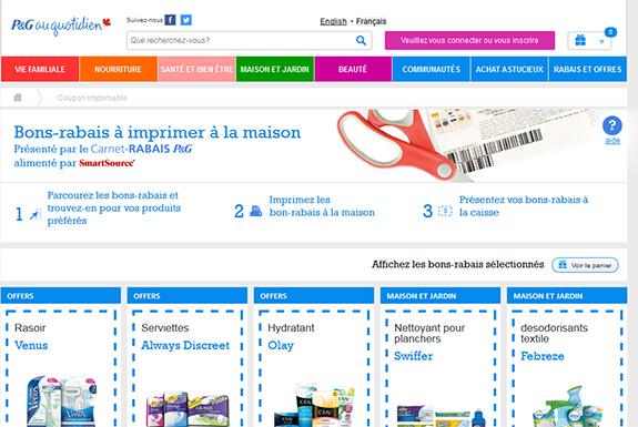 Site de coupons rabais à imprimer et échantillons gratuits p&g au quotidien