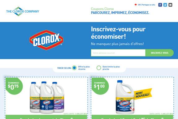 Portail des coupons rabais Clorox Canada à imprimer