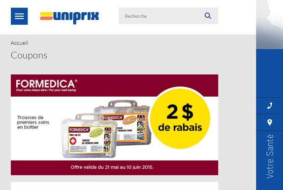 Site de coupons rabais à imprimer Uniprix.COM