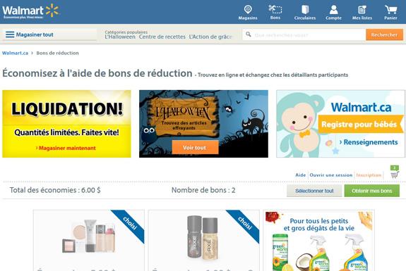 Site de coupons rabais à imprimer et coupons gratuits par la poste Walmart.CA
