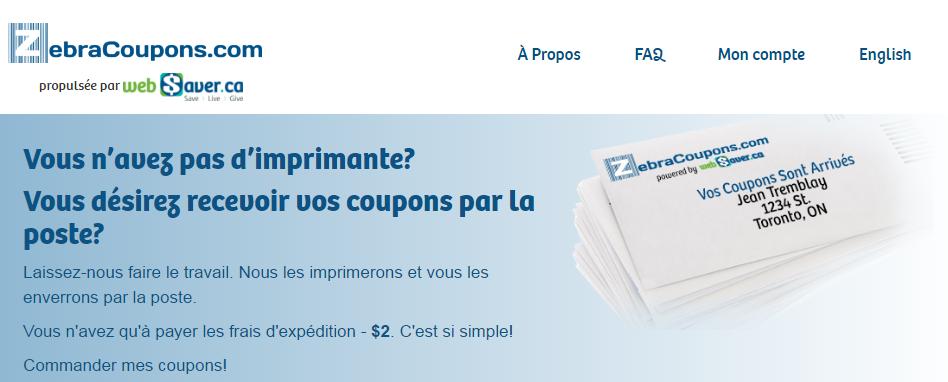 Site de coupons rabais à imprimer et coupons par la poste ZebraCoupons.COM