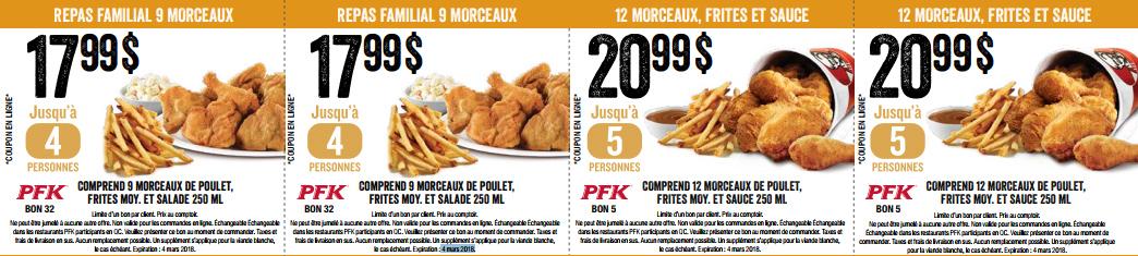Les coupons rabais gratuits PFK - KFC pour 2018