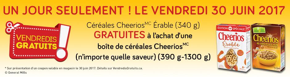Coupon rabais gratuit en ligne à imprimer pour obtenir les Céréales Cheerios Érable gratuits