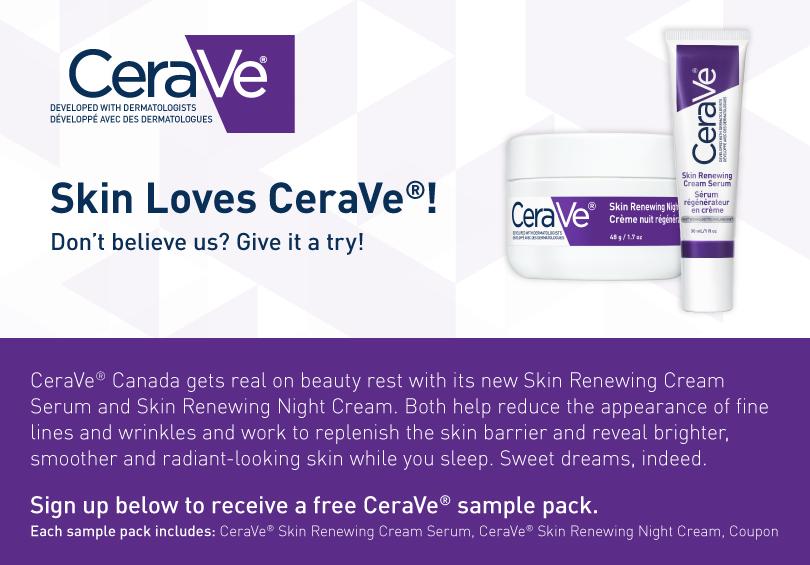 Nouveaux echantillons gratuits CeraVe de produits de beauté à recevoir par la poste